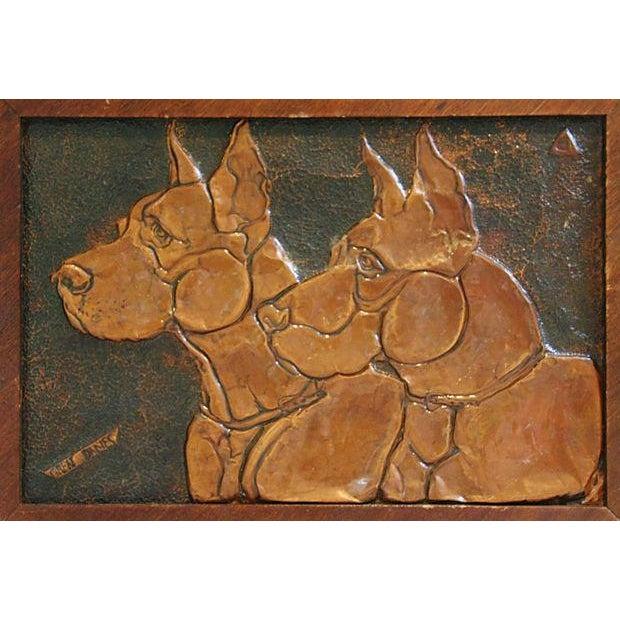 Mid-Century Copper Great Dane Dog Plaque - Image 4 of 4