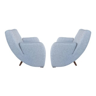 Mid-Century Modern Upholstered Club Chairs-a Pair