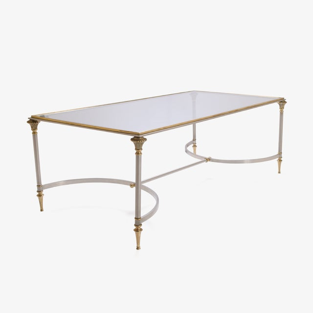 Image of Maison Jansen Style Brass & Steel Cocktail Table