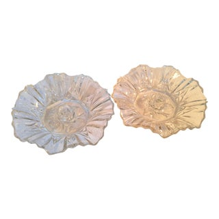 Pair of Clear Glass Scalloped Candle Holders