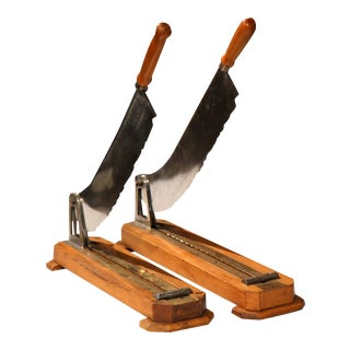 19th Century French Wood & Metal Bread Cutters - A Pair
