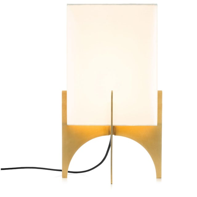 Small Modern Brass Thick Accent Lamp - Image 2 of 5