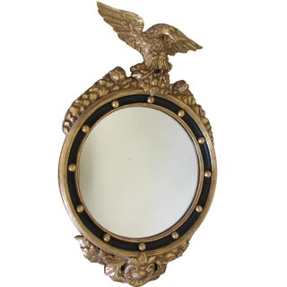 Hand Carved Gold Gilt Mirror With Eagle Crest