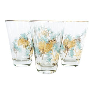 Vintage Gold Pine Cone Tumblers - Set of 4