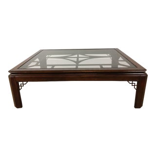 Chinoiserie Style Glass Top Wood Coffee Table