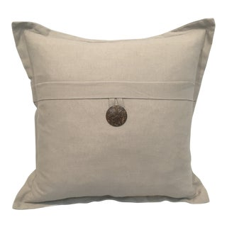 Gray Linen Pillow With Decorative Brown Button