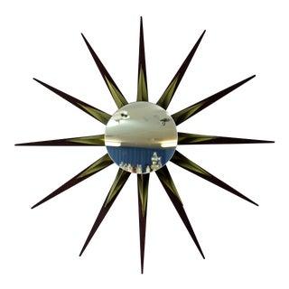 Mid-Century Danish Modern Walnut Brass Starburst Sputnik Mirror