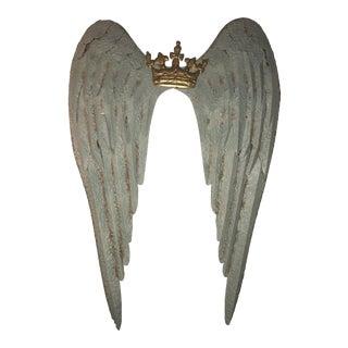 Large Metal Crown & Angel Wings Wall Decor