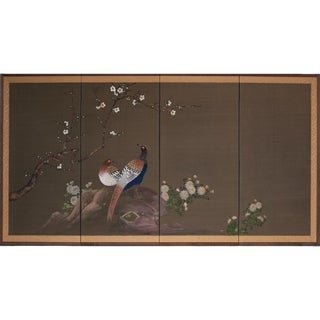 Japanese Pheasants Silk Screen, 1940s