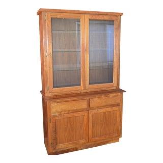 Custom Walnut Two-Piece China / Display Cabinet Sideboard