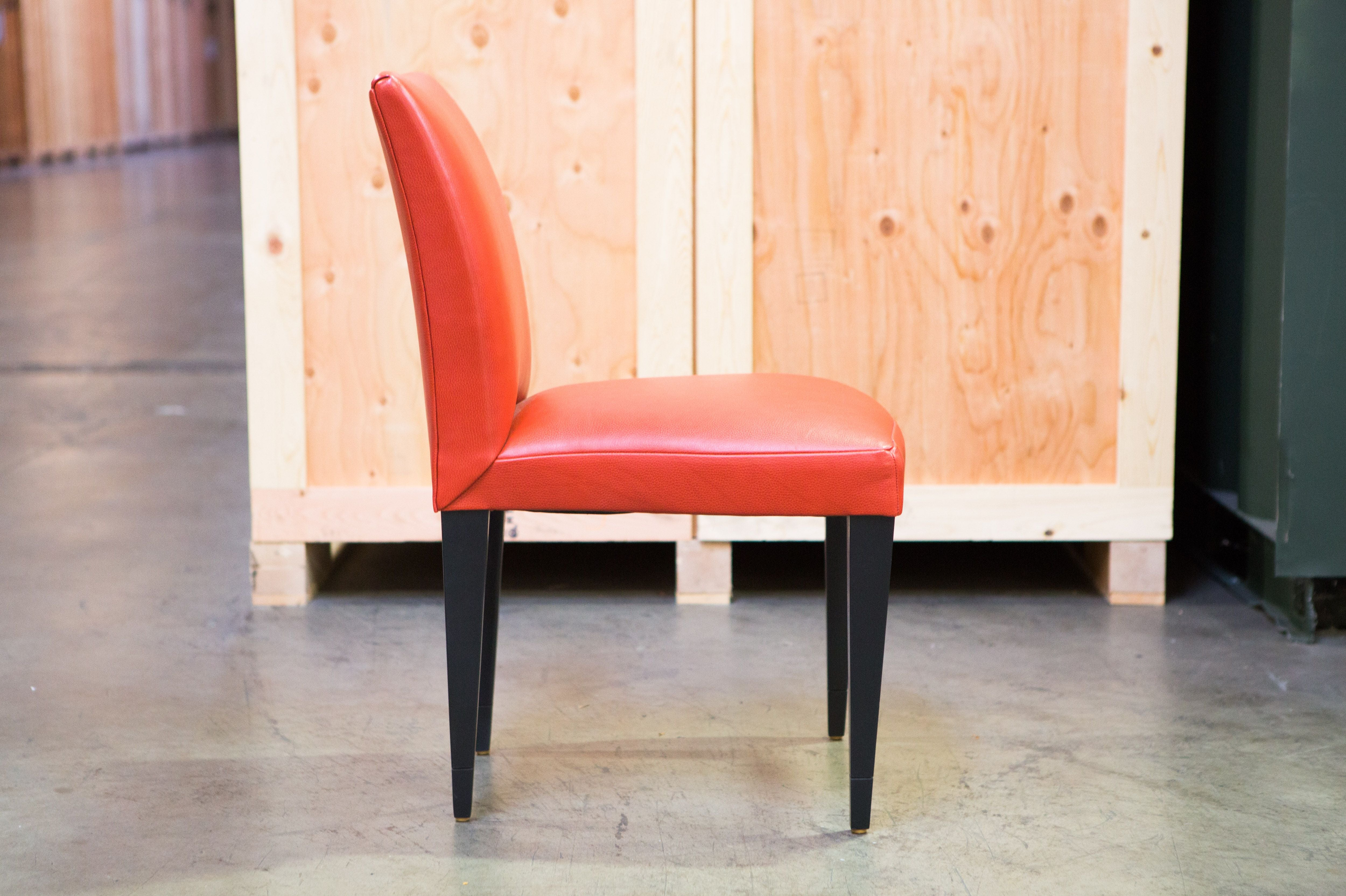 Orange leather dining chair chairish