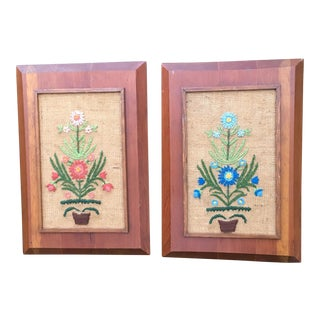 Vintage Framed Needlepoint Floral Art - A Pair