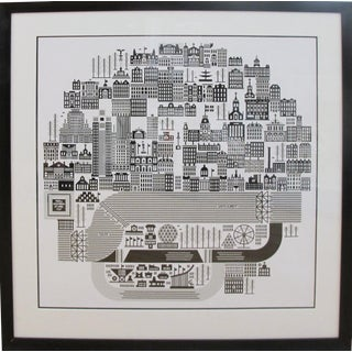 2014 Contemporary Cityscape Poster, Montreal on 27 April 1967 Expo 67 (Framed) - Raymond Biesinger