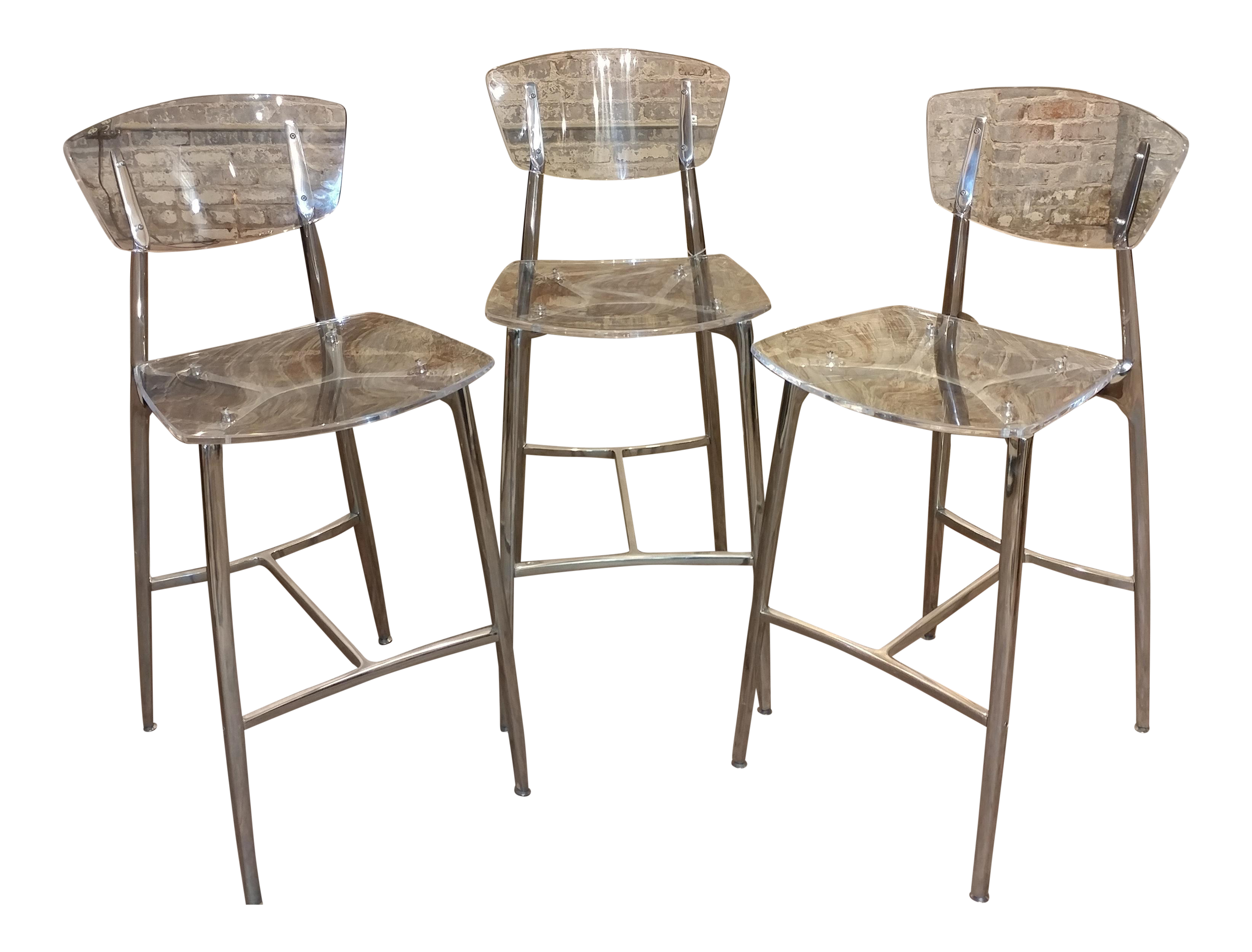 designer lucite u0026 polished steel bar stools set