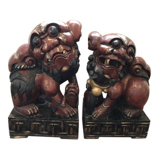 Pair of Carved and Painted Wooden Foo Dog Statues