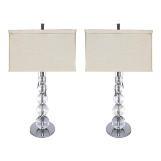 Graduated Glass Spheres Table Lamps - A Pair