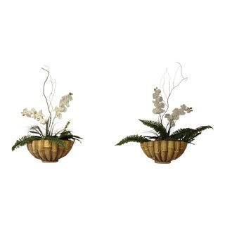 Vintage Wall Pockets With Silk Orchid Arrangements - A Pair
