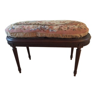 Caned Bench With Needlepoint Cushion