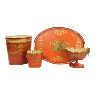 Collection of English Tole Items Including Waist Paper, Large Tray, Two Planters