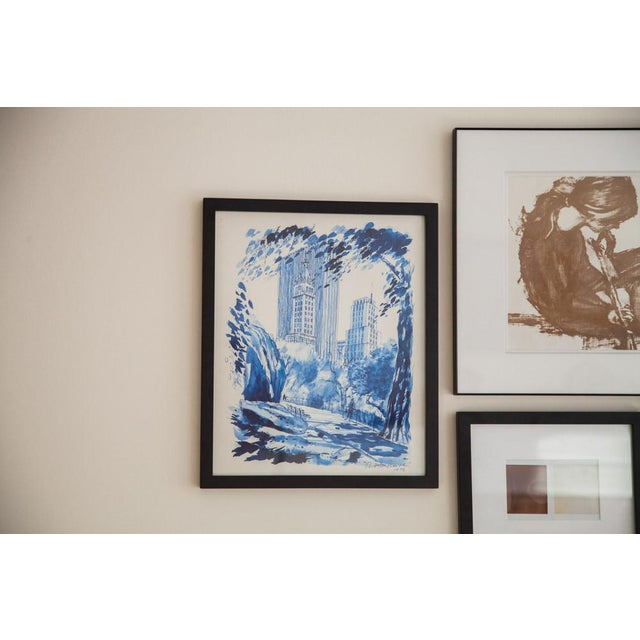 Blue Minimalistic Central Park NYC Lithograph 3 - Image 4 of 6
