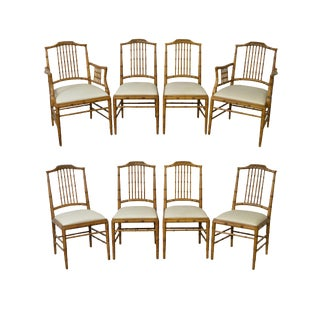 Century Faux Bamboo Frame Dining Chairs - Set of 8