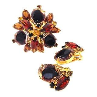 Juliana Art Glass Brooch & Earring Set