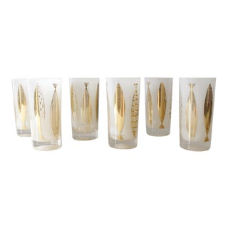 Fred Press White & Gold Fish Glasses - Set of 6