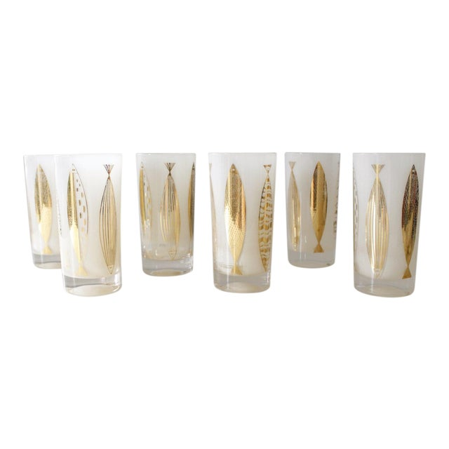 Image of Fred Press White & Gold Fish Glasses - Set of 6