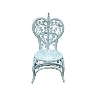 Soft Aqua Painted Wicker Chair