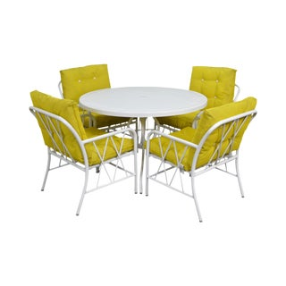 Brown Jordan Style Mid-Century White Round Patio Table & 4 Chair Set
