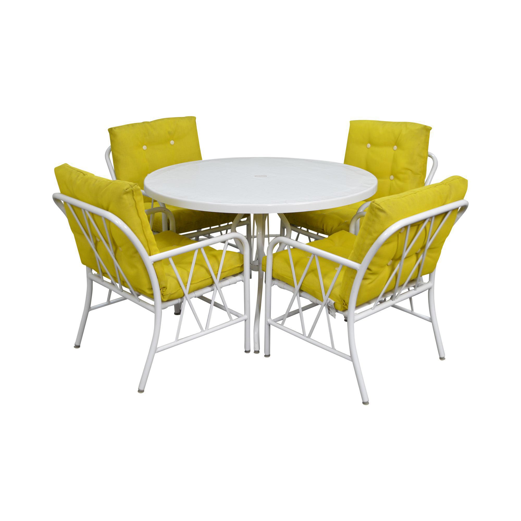 Brown Jordan Style Mid Century White Round Patio Table U0026 4 Chair Set