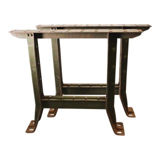 Vintage Industrial Green Steel Table Legs - A Pair