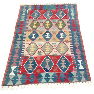 "Turkish Handwoven Wool Kilim Rug - 4'2"" X 5'11"""