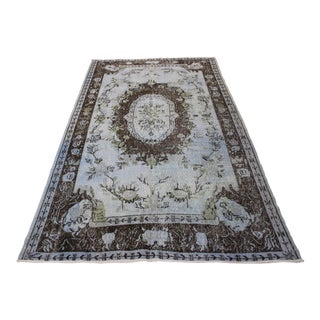"Light Blue & Brown Floral Turkish Overdyed Rug - 5'9"" X 9'6"""