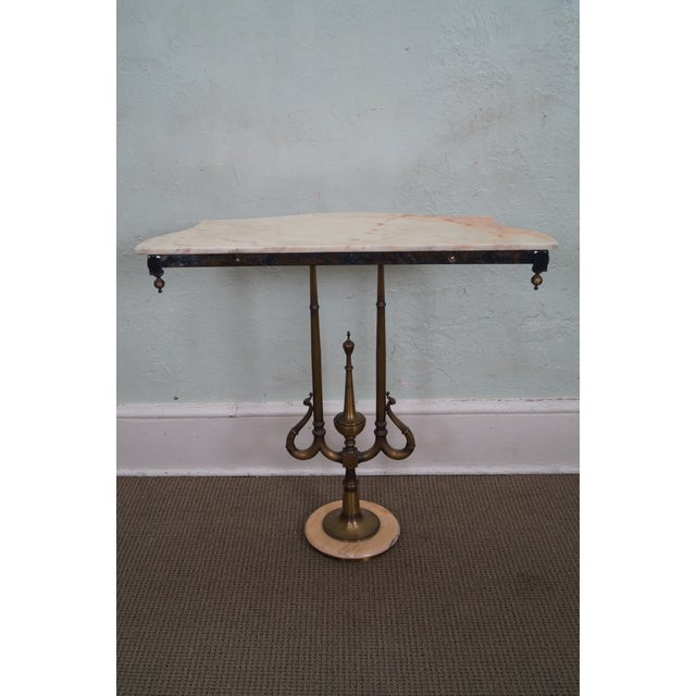 Italian Hollywood Regency Marble Top Console Table - Image 4 of 10