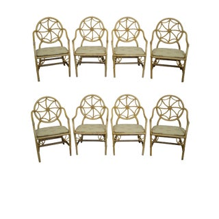 McGuire Style Rattan Spider Back Dining Chairs - Set of 8