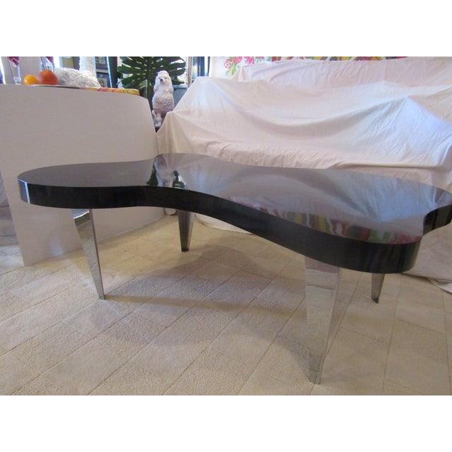 Mid Century Chrome Coffee Table: Mid-Century Amoeba Black And Chrome Coffee Table