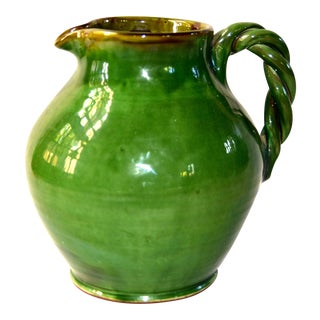 Antique Italian Green Glazed Water Pitcher