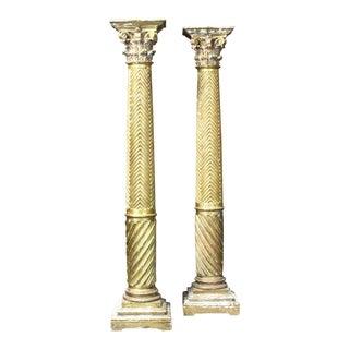19th Century Italian Neoclassical Giltwood Columns - A Pair