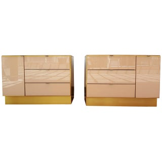 Glass and Brass Opposing Dressers by Ello - Pair