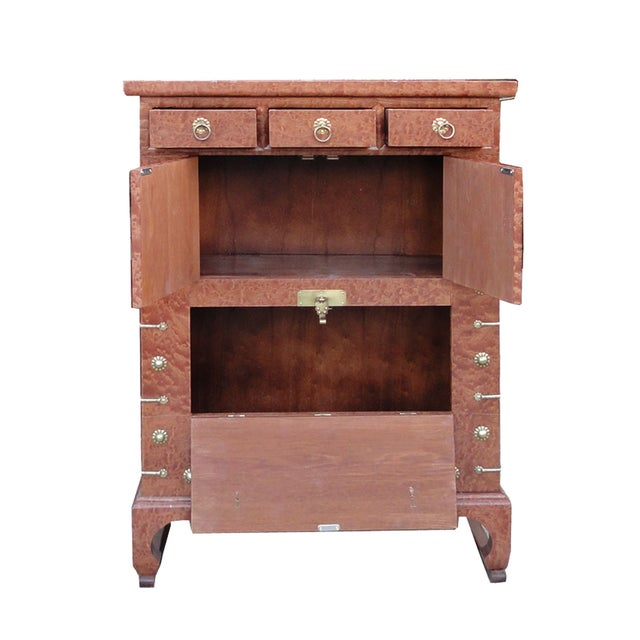 Korean brass burl wood veneer side cabinet table chairish for Table 85 korean