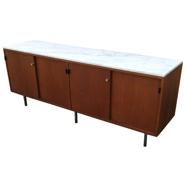 Florence Knoll Walnut Carrara Marble Credenza - Image 1 of 8