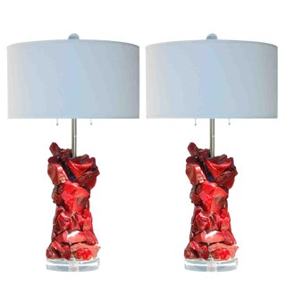 Tumbled Glass Lamps in Red by Swank Lighting