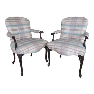 French Louis XV Style Accent Arm Chairs - A Pair