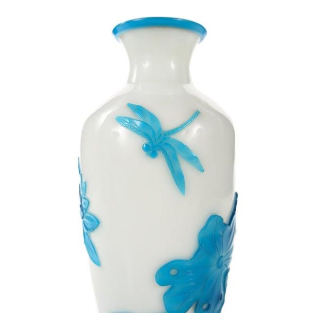Chinese Peking Glass Blue & White Vases - Pair - Image 7 of 9