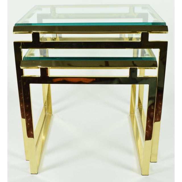 Pair of Brass & Glass Modernist Nesting Tables - Image 8 of 8