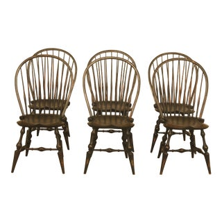D.Green Paint Decorated Windsor Dining Chairs - Set of 6