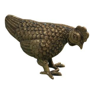 Vintage Brass Chicken Figurine