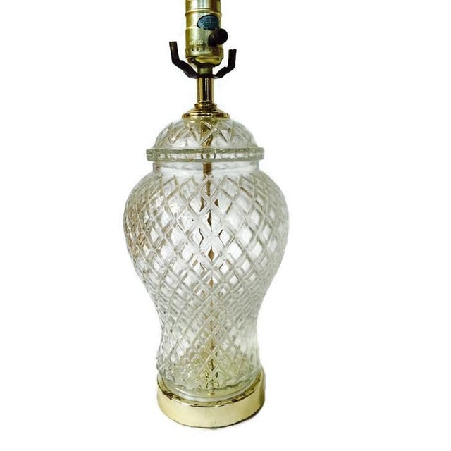 Image of Vintage Chinoiserie Cut Glass Ginger Jar Lamp