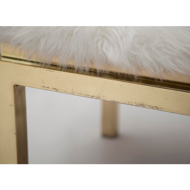 1970's Brass Faux Fur Upholstery Benches - A Pair - Image 6 of 8